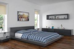 3d - modernt sovrum royaltyfri illustrationer