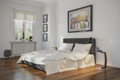 3d - modernt sovrum - inre begrepp stock illustrationer