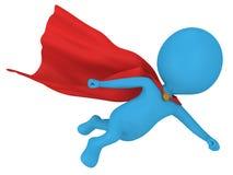 3d moedige superhero met het rode mantel vliegen Stock Fotografie