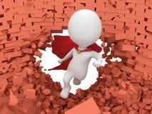 3d moedige superhero met het rode mantel vliegen Stock Afbeeldingen