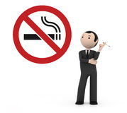 3d moking in a prohibited place for smoking Royalty Free Stock Images
