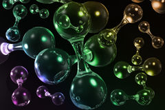 3D molecular background. 3D multicolored molecular background for web and print Royalty Free Stock Photos