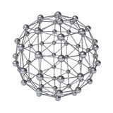 3d molecular structure geometry model isolated over white. Background with reflection royalty free illustration