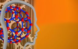 3d molecular structure. 3d illustration of molecular structure over orange background with gears Stock Image