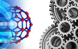 3d molecular structure. 3d illustration of molecular structure over white background with mechanic Royalty Free Stock Photo
