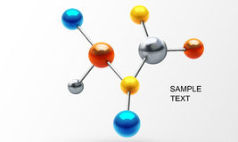 3d molecule. Abstract 3d illustration of molecule structure isolated over white Royalty Free Stock Image