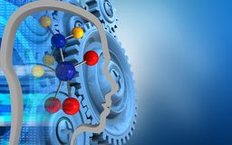3d molecule. 3d illustration of molecule over blue background with blue gears Royalty Free Stock Images