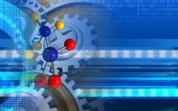 3d molecule. 3d illustration of molecule over cyber background with gears Royalty Free Stock Photography