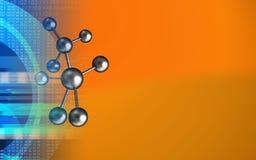 3d molecule. 3d illustration of molecule over orange background with Stock Image