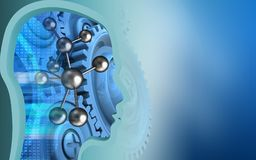 3d molecule. 3d illustration of molecule over blue background with blue gears Stock Photography