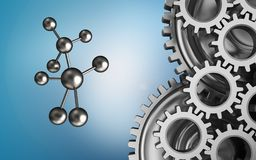 3d molecule. 3d illustration of molecule over blue background with mechanic Stock Image