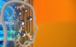 3d molecule. 3d illustration of molecule over orange background with gears Royalty Free Stock Image