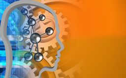 3d molecule. 3d illustration of molecule over orange background with gears Royalty Free Stock Images