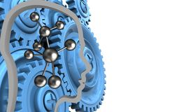 3d molecule. 3d illustration of molecule over white background with blue gears Stock Images