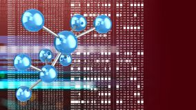 3d molecule model. Abstract 3d red background with molecule model and hexadecimal code stock illustration