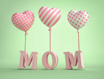 3D Mom Text with balloons in shape of heart. On green background . 3D rendering Stock Images
