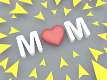 3d mom text with yellow arrow, mothers day concept Stock Photo