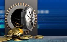 3d monety nad cyber Obrazy Royalty Free