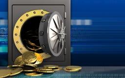 3d monety nad cyber Obraz Stock