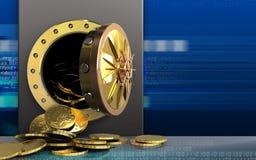 3d monety nad cyber Obraz Royalty Free