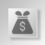 3D Money Bag icon Business Concept. 3D Symbol Gray Square Money Bag icon Business Concept Stock Photos