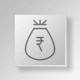 3D Money Bag icon Business Concept. 3D Symbol Gray Square Money Bag icon Business Concept Royalty Free Stock Images