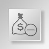 3D Money Bag Minus Button Icon Concept Royalty Free Stock Images