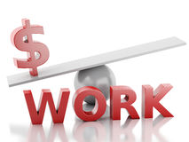 3d money on a balance. Success at Work. Royalty Free Stock Image