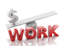 3d money on a balance. Success at Work. Royalty Free Stock Photo