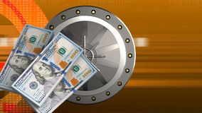 3d money banknotes. 3d illustration of valut door over orange cyber background with money banknotes royalty free stock images