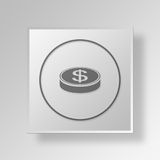 3D Money Button Icon Concept royalty free illustration