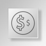3D Money Button Icon Concept Royalty Free Stock Photo