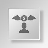 3D Money chasing Button Icon Concept Royalty Free Stock Photography
