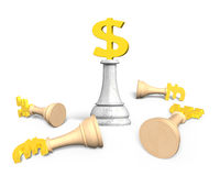 3D money chess with gold dollar currency king Royalty Free Stock Photos