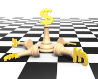 3D money chess with golden dollar currency king Stock Photo