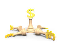 3D money chess with golden dollar currency king Royalty Free Stock Images