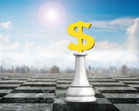 3D money chess of golden dollar sign. Money chess of golden dollar sign chessboard, 3D illustration Royalty Free Stock Photography