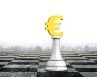 3D money chess of golden euro currency. Money chess of golden euro currency on chessboard, 3D illustration Royalty Free Stock Image