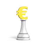3D money chess of golden euro currency Royalty Free Stock Photos