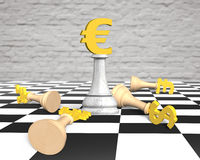 3D money chess with golden euro currency king Stock Photography