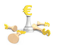 3D money chess with golden euro currency king Stock Photo