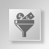 3D Money Filter Button Icon Concept. 3D Symbol Gray Square Money Filter Button Icon Concept Royalty Free Stock Image