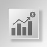 3D Money Growth icon Business Concept. 3D Symbol Gray Square Money Growth icon Business Concept Royalty Free Stock Image