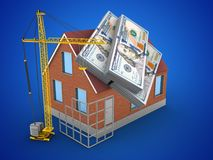 3d money. 3d illustration of bricks house over blue background with money and construction site Royalty Free Stock Images