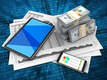 3d money. 3d illustration of business charts and tablet computer over digital background with money Stock Images