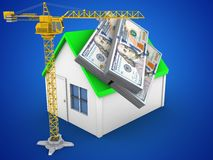 3d money. 3d illustration of simple house over blue background with money and crane Royalty Free Stock Photo