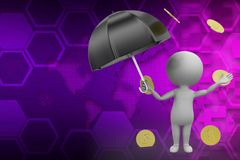3d money rain illustration Stock Image
