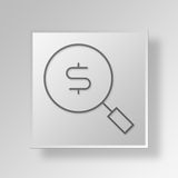 3D Money search Button Icon Concept Stock Photography