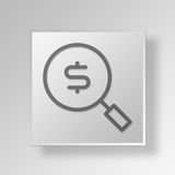 3D Money search Button Icon Concept Stock Images