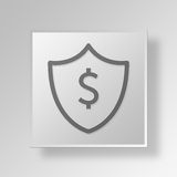 3D money shield Button Icon Concept Royalty Free Stock Images